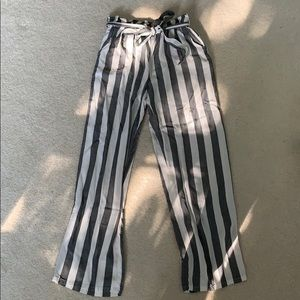 Grey and White striped paper bag pants